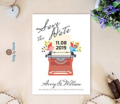 Wedding Save the Date cards printed | Romantic save the dates with two birds on typewriter | Personalized save the date invitations cheap by OnlybyInvite on Etsy