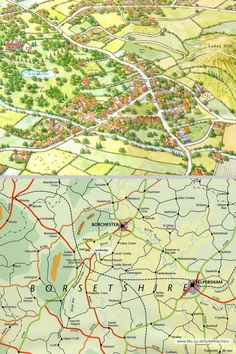 Some maps of the mythical village of Ambridge in Borsetshire, familiar to listeners to 'The Archers' on BBC Radio 4 (running since What Is English, Bbc Radio, I Can Relate, The Archers, Maps, Life Hacks, Running, Folk, Craft Ideas