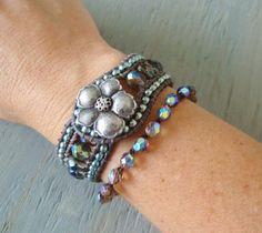 Leather cuff bracelet 'Hawaiian Fantasy'  iridescent by slashKnots, $90.00