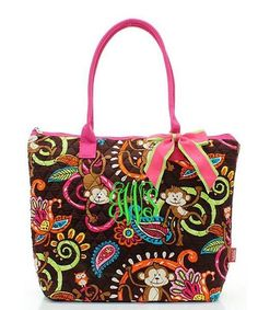 "Personalized Monkey Hot Pink 16"" Quilted Tote Bag - Gifts Happen Here - 1"