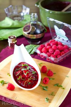 Raspberry & Cranberry Sauce for #Thanksgiving also makes a marvelous spread to serve with bread and cheese! #holidays #cranberry #raspberry ...