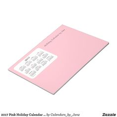 2017 Pink Holiday Calendar by Janz Notepad