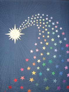 What a gorgeous star quilt! A shooting star quilt pattern, but also one that's bursting with the colors of the rainbow. Quilting Projects, Quilting Designs, Sewing Projects, Star Quilt Patterns, Star Quilts, Canvas Patterns, Quilt Baby, Hand Applique, Applique Quilts