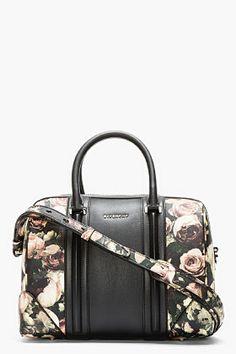 Givenchy Black Leather Floral Lucrezia Duffle Bag for women   SSENSE