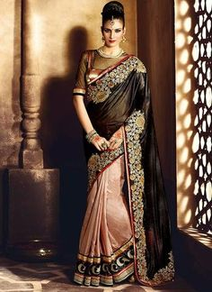 Brown & Black Lycra With Butta and Resham Work Saree ,Indian Dresses - 1