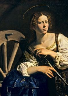 "Detail from Caravaggio's ""Saint Catherine of Alexandria"", c.1598."