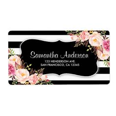 Elegant floral black and white stripe address labels. Featuring pink watercolor flowers against a striped background. Size: x Gender: unisex. Beauty Business Cards, Business Cards Layout, Elegant Business Cards, Pink Watercolor, Watercolor Wedding, Black White Stripes, Black And White, Visiting Card Design, Business Hairstyles