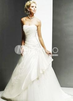 White A-line Strapless Beaded Floor Length Satin Wedding Dress For Bride