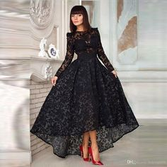 2016 Demure Black Lace Evening Dress Scoop Neckline High Low A Line Pleat Ruffles See Through Lace Long Sleeve Evening Dress Online Gowns Pink Evening Dress From Boking668, $99.59| Dhgate.Com