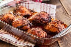 Easy Oven-roasted Bbq Chicken Thighs With Chicken Thighs, Bbq Sauce, Apricot Preserves, Olive Oil, Garlic Powder, Kosher Salt, Freshly Ground Pepper