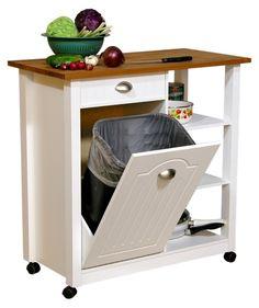 Venture Horizon Butcher Block Top Kitchen Cart with Trash Bin - Kitchen Islands and Carts at Hayneedle
