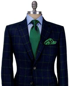 Image of Belvest Navy with Green Windowpane Sportcoat Mens Fashion Suits, Mens Suits, Fashion Outfits, Men's Fashion, Gentleman Mode, Gentleman Style, Sharp Dressed Man, Well Dressed Men, Terno Slim