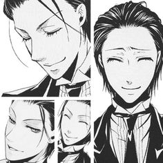He looks so young with his hair like that! |Sebastian. #Black Butler