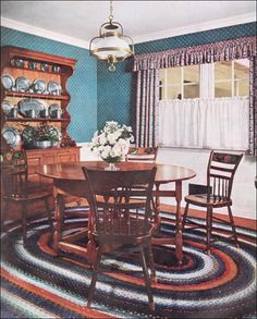 Unlike the more formal style of the 18th C. Colonial furnishings, the Early American style is more casual and rustic. It was certainly considered to be much more comfortable, so was used in summer cottages and cabins as well as smaller primary homes.  For the Early American room, most early 20th C. designers favored painted walls and woodwork.