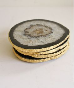 agate coasters with gold rim