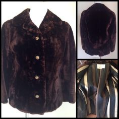 "Mouton Vintage Fur Jacket Incredibly soft custom made Vintage Chocolate Brown  Mouton Fur. Gold metal and Amber rhinestone buttons. Jacket has 2 diagonal slit pockets and the back has a fur belt attached. Navy Brown & Creme Satin striped lining and embroidered monogram. Custom made by Samuel Barth in Hartford. (He was a well know furrier in the 1950's. Measurements Laying Flat; Shoulders- 17 Bust 19"" Sleeve- 20"" Length- 25""  (Bottom of collar to hem) Samuel Barth Jackets & Coats"