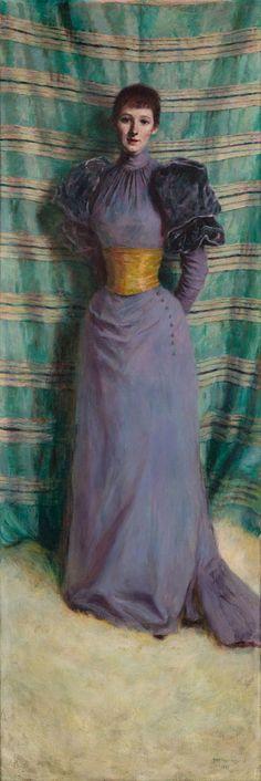 Portrait of Teresa Jasienska, Née Labedzka by Wladyslaw Podkowinski, 1893 Fashion Images, Fashion Art, Fashion Portraits, 1890s Fashion, Paintings Famous, France Art, Victorian Art, Victorian Dresses, Galaxy Design