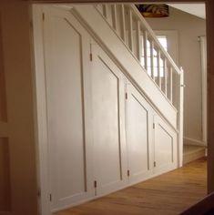 How To Add a Closet with a Hidden Door Under a Staircase - How to create a hidden closet under a staircase. Under a staircase ideas. Shoe Storage Under Stairs, Closet Under Stairs, Staircase Storage, Under Stairs Cupboard, Build A Closet, Basement Stairs, Staircase Design, Closet Storage, Basement Ceilings