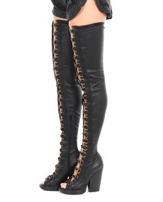 DI LIBORIO STRETCH NAPPA LEATHER BOOTS S/S 2016 Black high boots stretch nappa leather decorated with metal rings leather sole inner zipper closure 100% Leather