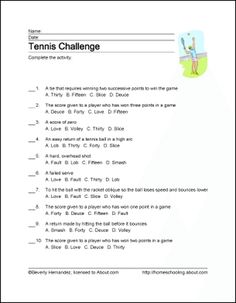 Tennis Wordsearch, Crossword Puzzle, and More: Tennis Challenge Tennis Lessons, School Sports, Crossword, Physical Education, Word Search, Vocabulary, Puzzle, Challenges, Printables