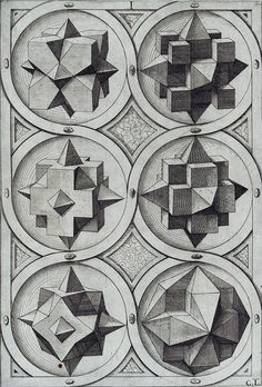 Jost Amman - Sechs Oktaeder (1568).Jost Amman, grabados de Ciencia en el siglo XVI.
