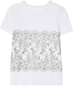 Christopher Kane - Lace-appliquéd cotton and cashmere-blend T-shirt Christopher Kane, Clare Vivier Clutch, Look Good For You, Alexander Mcqueen Bracelet, Lace Tee, Couture, Diy Clothing, Pretty Outfits, Pretty Clothes