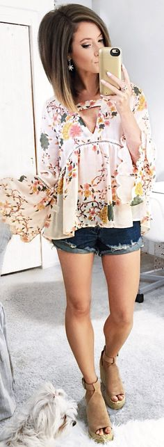 #spring #outfits White Flower Printed Blouse & Denim Short & Brown Suede Wedge