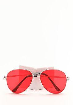 Zero UV Red Flat Lens Aviator Sunglasses