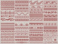 Frisian Cross Stitch Sampler No. 1 Instant Download by modernfolk