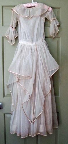 Vintage Late Edwardian, Early 1920's Evening Dress, Ecru Netting, Silk and Lace. $150.00, via Etsy.