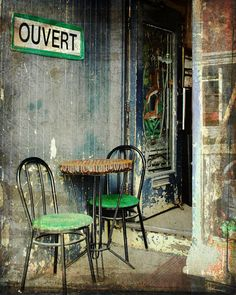 Le bistro  vintage sidewalk cafe  home decor wall art by gbrosseau, Love the Texture and colors of this print