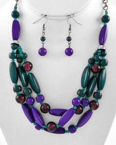 "New Fashion Burnished Silver Tone Multi Rows With Acrylic & Glass Beads In Purple & Teal  Necklace & Earring Set  NOT FOR CHILDREN UNDER 12  With No Tags  Size: Approximately 17"" Long necklace with ext.            Earrings Hooks 1 3/4"" Long                    Condition: New Never Worn ..."