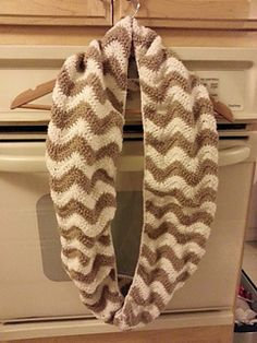 Crochet Chevron Infinity Scarf by Justine Vo