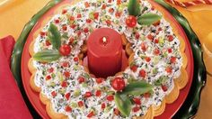 Spinach Dip Crescent Wreath  -- ( Can change type of dip & shape of dough for any occasion .)