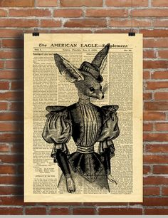 Lady Fennec Mademoiselle Fox Vintage Vintage Printable Collage Old Newspaper A3 Wall Art Print 11x16 Home Decor - DIGITAL DOWNLOAD HQ300dpi by ZikkiArt on Etsy  #hq #Ephemera #diy #old #book #illustration #gravure #decor #digital #collage #scrapbooking #quality  #inspiration #retro #antique #vintage #300dpi #draw #drawing  #black #white #printable #crafts #Newspaper #paper Newspaper Paper, Vintage Newspaper, Dictionary Art, Printable Crafts, Digital Collage, Book Illustration, A3, Ephemera, Wall Art Prints
