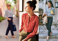 Como se vestir para uma reunião de trabalho? - Moda it - CAMISA ESTAMPADA + CALÇA DE AFAIALTARIA + FLATS