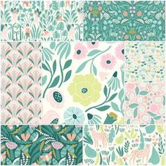 Ethereal Jungle Fabric Collection by Elizabeth Olwen at Hawthorne Supply Co Pretty Patterns, Beautiful Patterns, Floral Patterns, Graphic Design Pattern, Surface Pattern Design, Book Quilt, Modern Fabric, Repeating Patterns, Textile Design