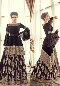 Black and Gold Embroidered Sharara Suit features a swiss georgette top with embroidery. Comes with swis georgette bottom and santoon inner with swis georgette dupatta. Indian Gowns Dresses, Indian Fashion Dresses, Indian Designer Outfits, Pakistani Dresses, Indian Outfits, Bridal Dresses, Designer Dresses, Pakistani Sharara, Anarkali