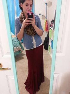 Oxblood maxi skirt, chambray and leopard scarf. Modest winter fashion
