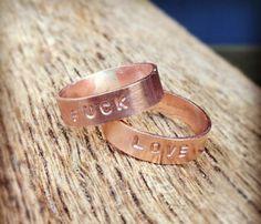 Love Copper Rings