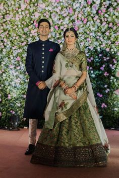 Looking for A bride in green lehenga with her groom? Browse of latest bridal photos, lehenga & jewelry designs, decor ideas, etc. on WedMeGood Gallery. Indian Bridal Lehenga, Indian Bridal Outfits, Indian Bridal Fashion, Indian Bridal Wear, Indian Designer Outfits, Indian Dresses, Bridal Dupatta, Indian Clothes, Indian Wear