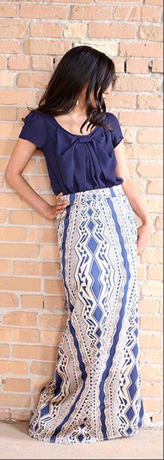 Aztec Maxi Skirt - Navy   Skirts on LDSBookstore.com (#D-MR-MSS1874)