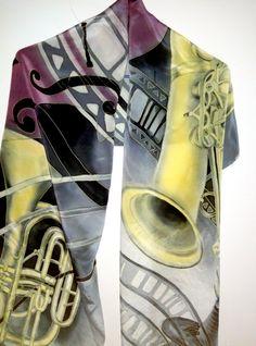 Hand painted silk scarf jazz scarf luxury silk scarves by Allatai