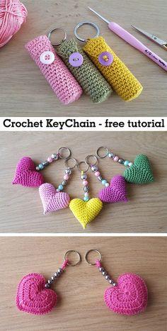 Keychain Crochet Keychain Crochet Record of Knitting Yarn spinning, weaving and stitching jobs such as BC. Crochet Gifts, Cute Crochet, Knit Crochet, How To Crochet, Knitted Gifts, Double Crochet, Crochet Keychain Pattern, Tutorial Crochet, Knitting Patterns
