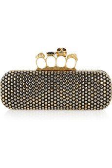 Alexander McQueen Swarovski Crystal Studded Leather Knuckle Box Clutch