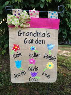 Grandma's Garden Flag,Mother's Day Gifts, Spring garden Flags, Flag With Grandkids Names,Birthday Gift, Mimi's Garden ,Gift For Her by TallahatchieDesigns
