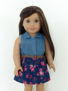 Denim and Floral Dress for American Girl Dolls by BuzzinBea