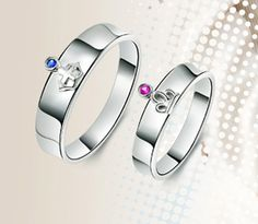 Matching Pair of Engagement Rings Set for Couples