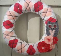 Argyle Owl Wreath