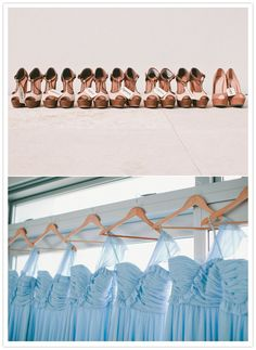Photo of bridesmaids dresses on personalized hangers and everyone's heals all lined up